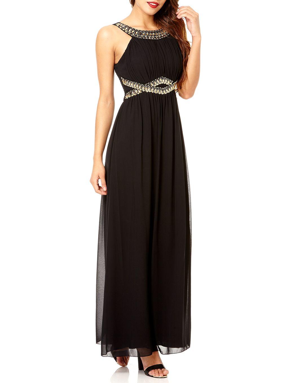 Quiz Black Chiffon Maxi Dress In Black Lyst
