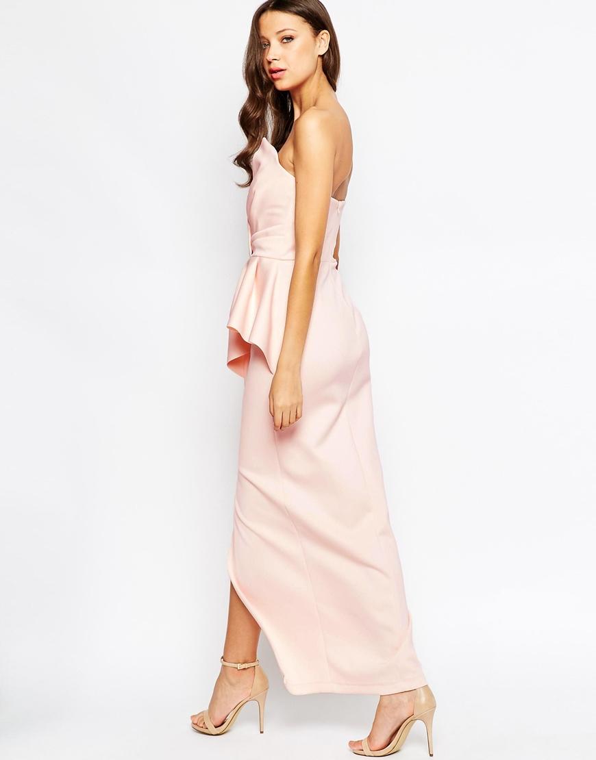 e3944570 ASOS Red Carpet Scuba Bandeau Heavy Fold Peplum Maxi Dress in ...