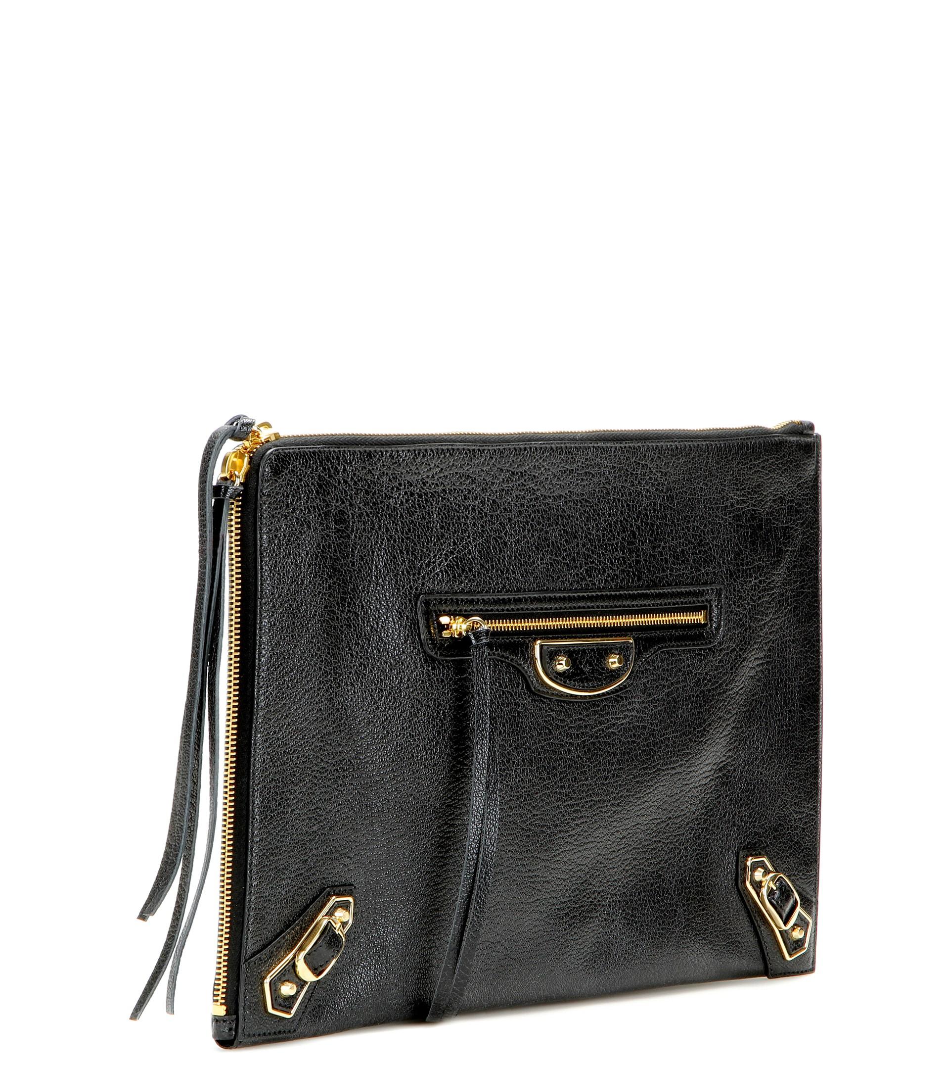 3067348ef0 Balenciaga Classic Pouch Metallic Edge Leather Clutch in Black - Lyst