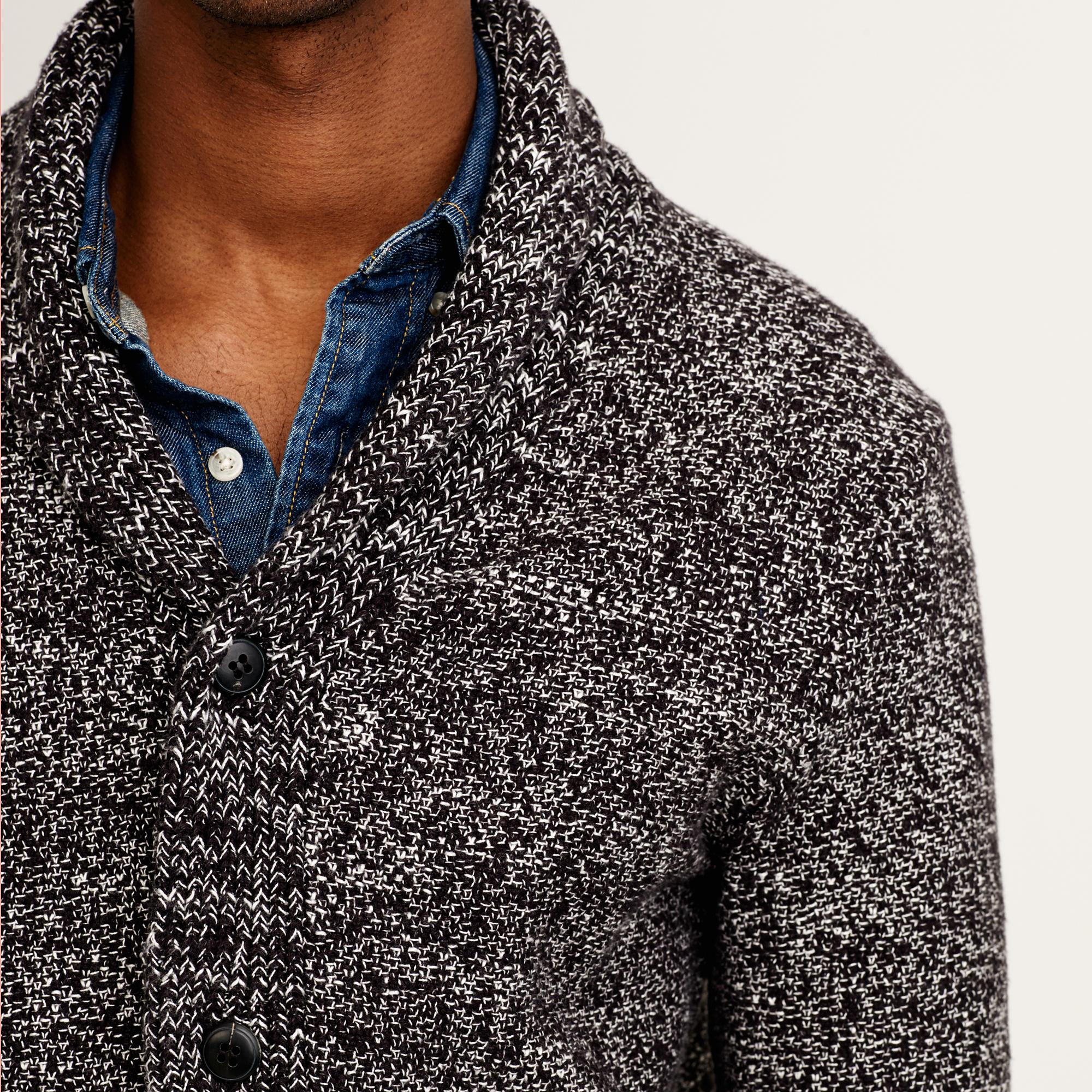 J.crew Marled Cotton Shawl-collar Cardigan Sweater in Black for ...