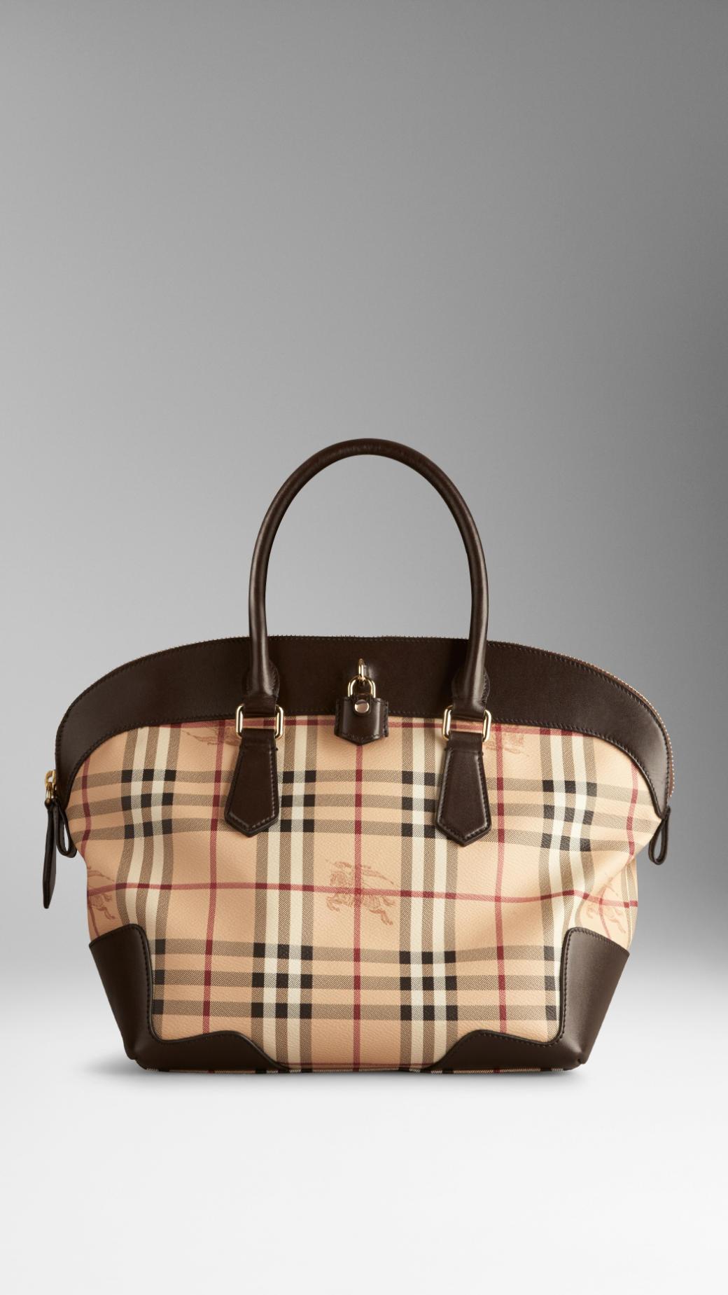 Lyst - Burberry Medium Haymarket Check Tote Bag in Brown 823bd254f9d4a