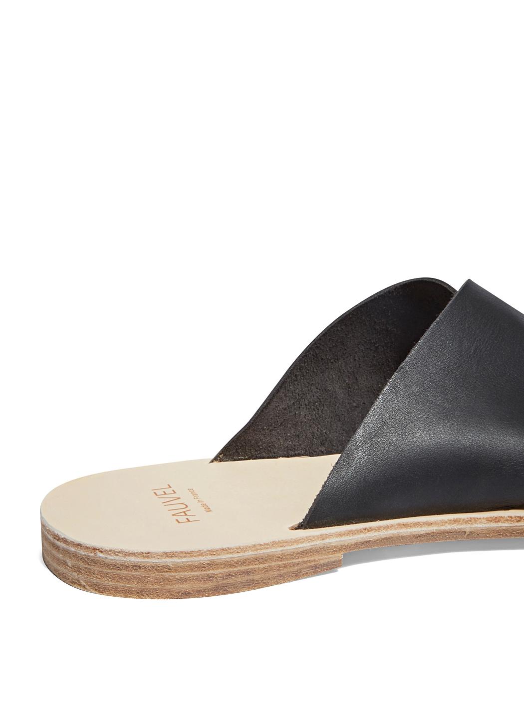 597558283599 Lyst - Fauvel Men s Cross Slip-on Leather Sandals In Black in Black for Men