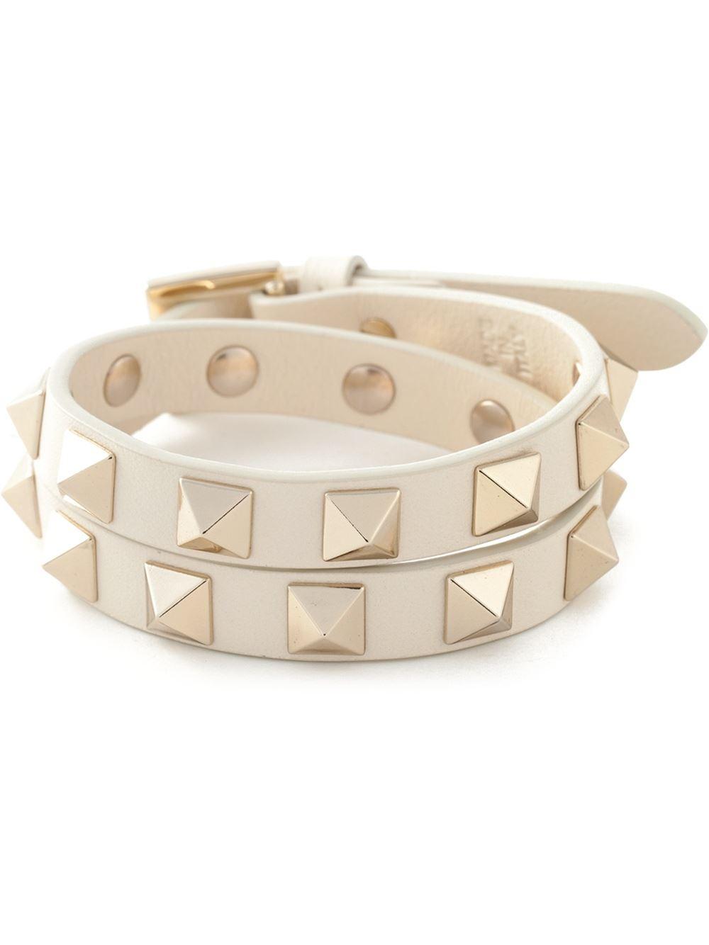 Lyst Valentino Rockstud Bracelet In White