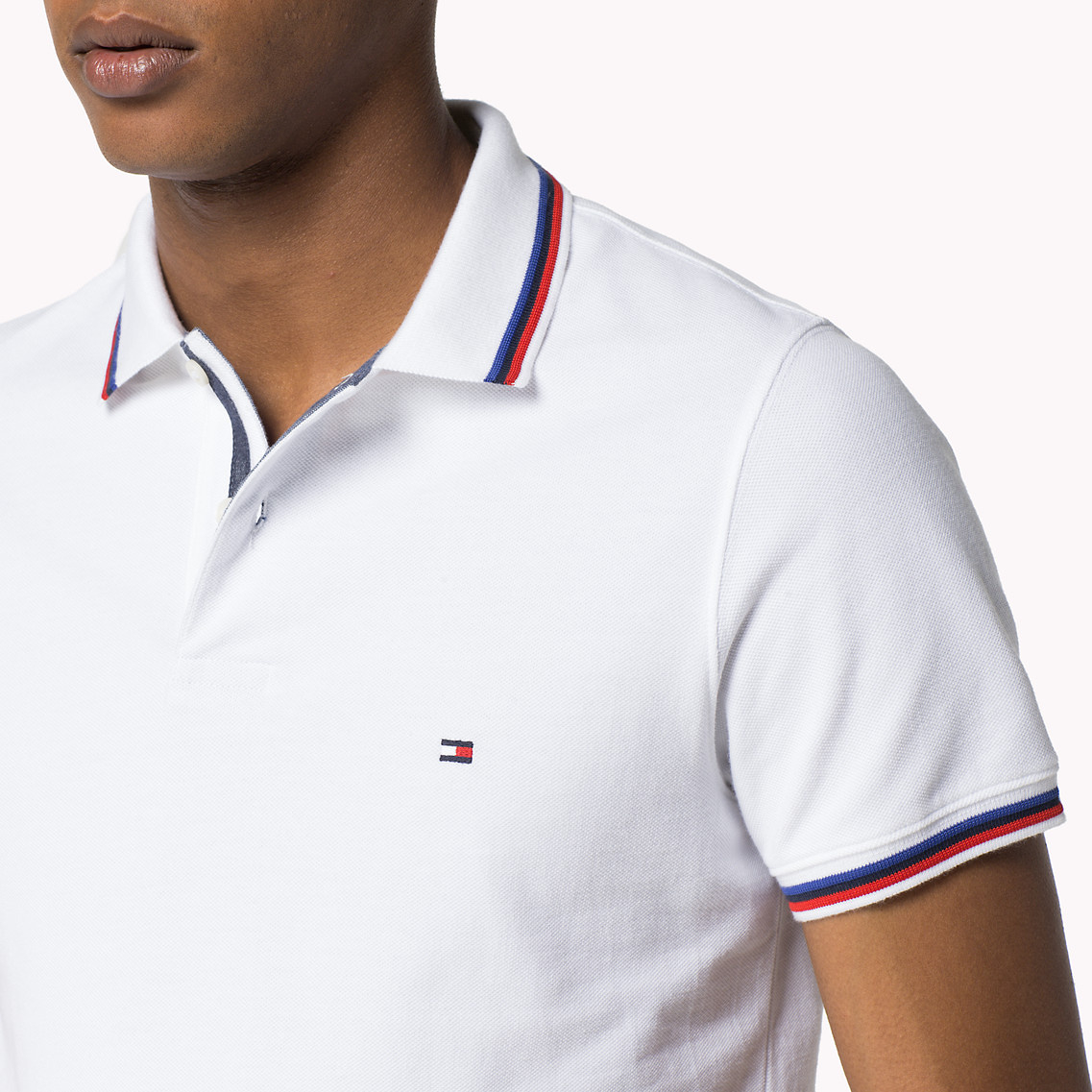 88a78761 Tommy Hilfiger Tommy Tipped Slim Fit Polo in White for Men - Lyst