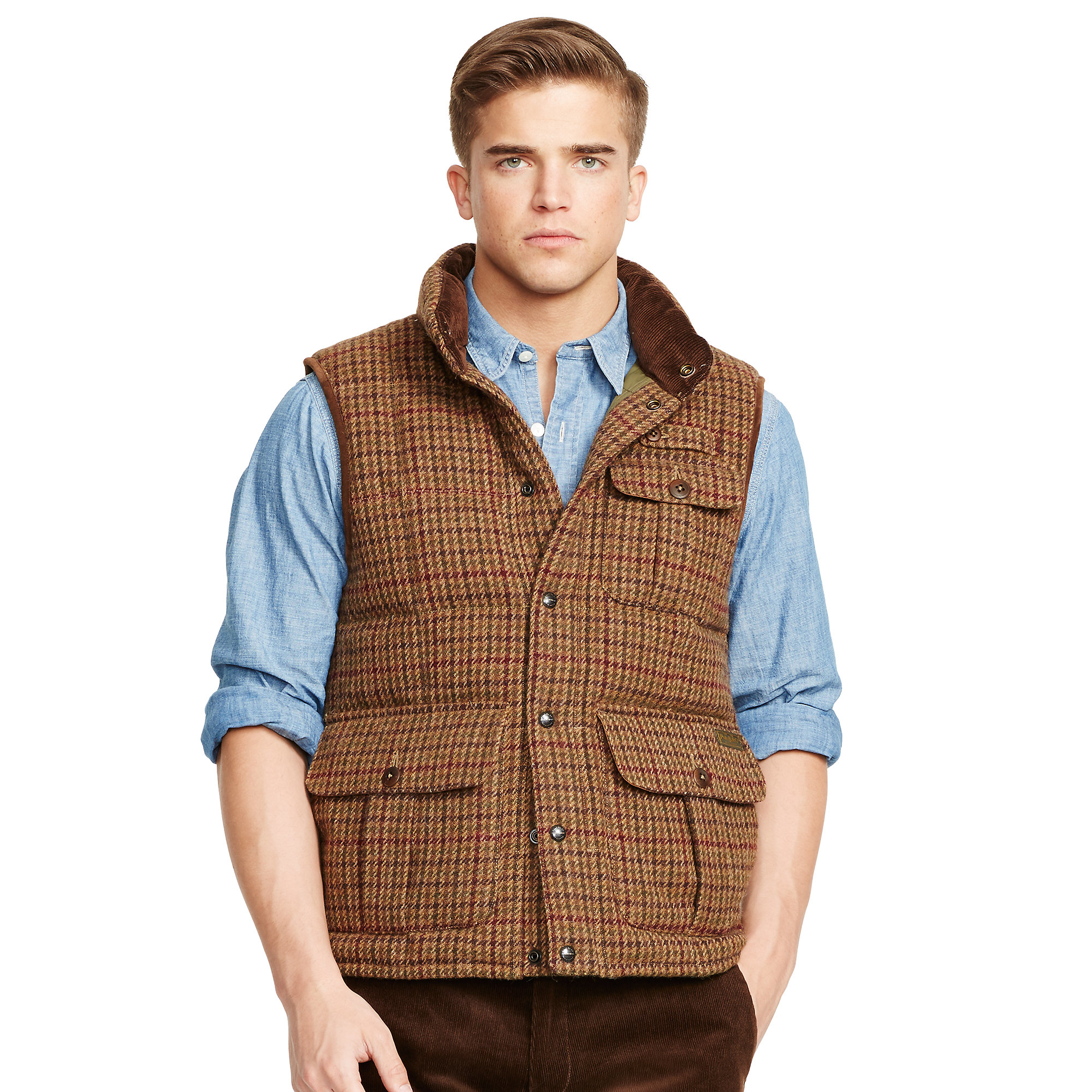 cac731842b9 Lyst - Polo Ralph Lauren Plaid Wool-blend Down Vest in Brown for Men