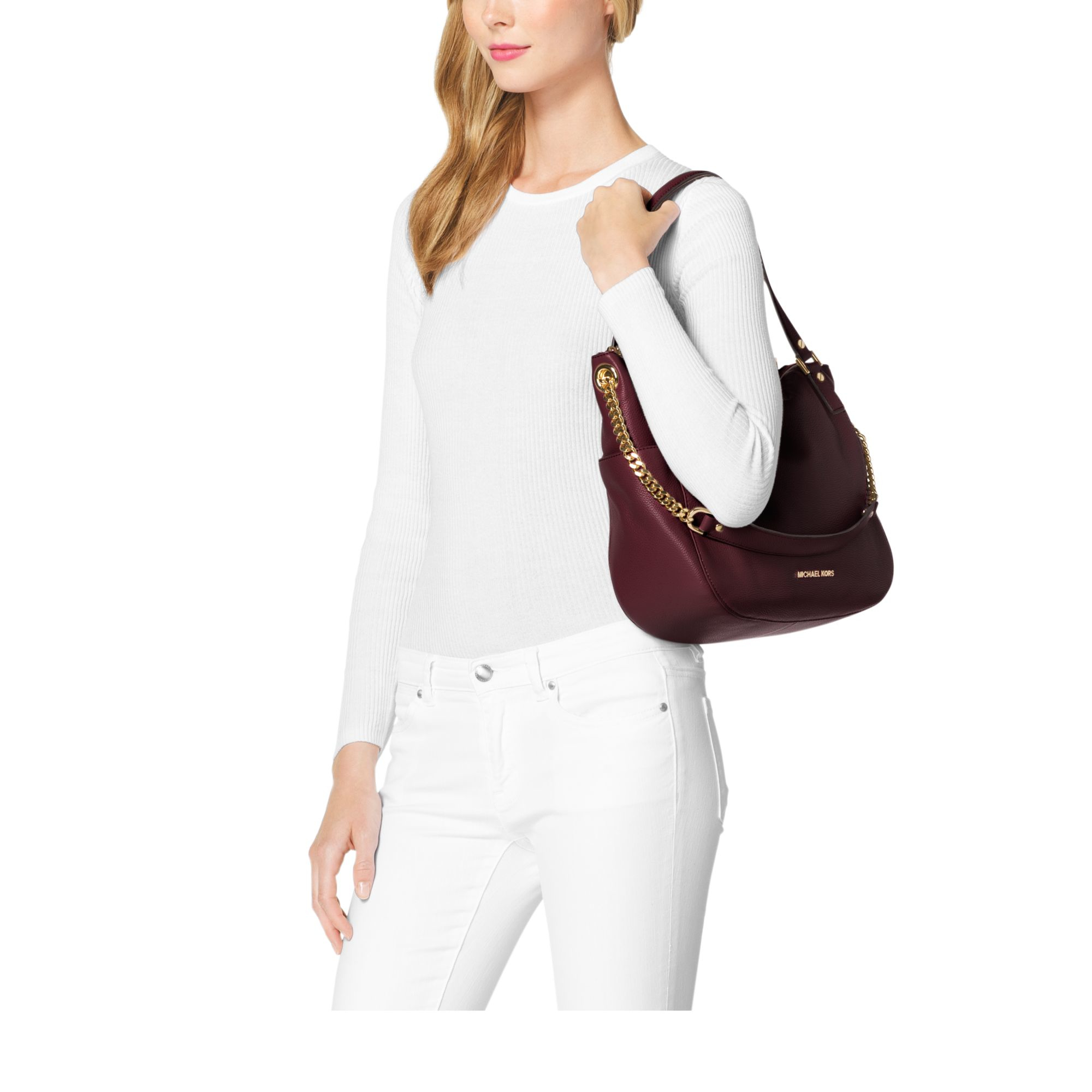 1a9a0e41a760 ... convertible shoulder bag pearl gray neiman marcus 693ec f2998 denmark lyst  michael kors chandler large leather tote in purple 9a254 ab401