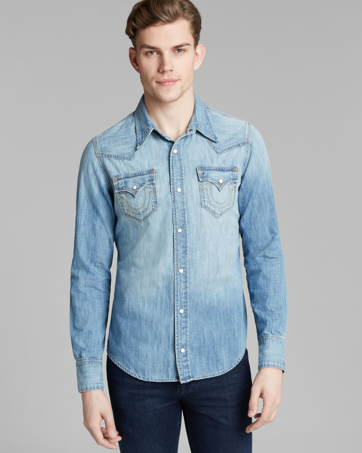 true religion jake western shirt in blue for men lyst
