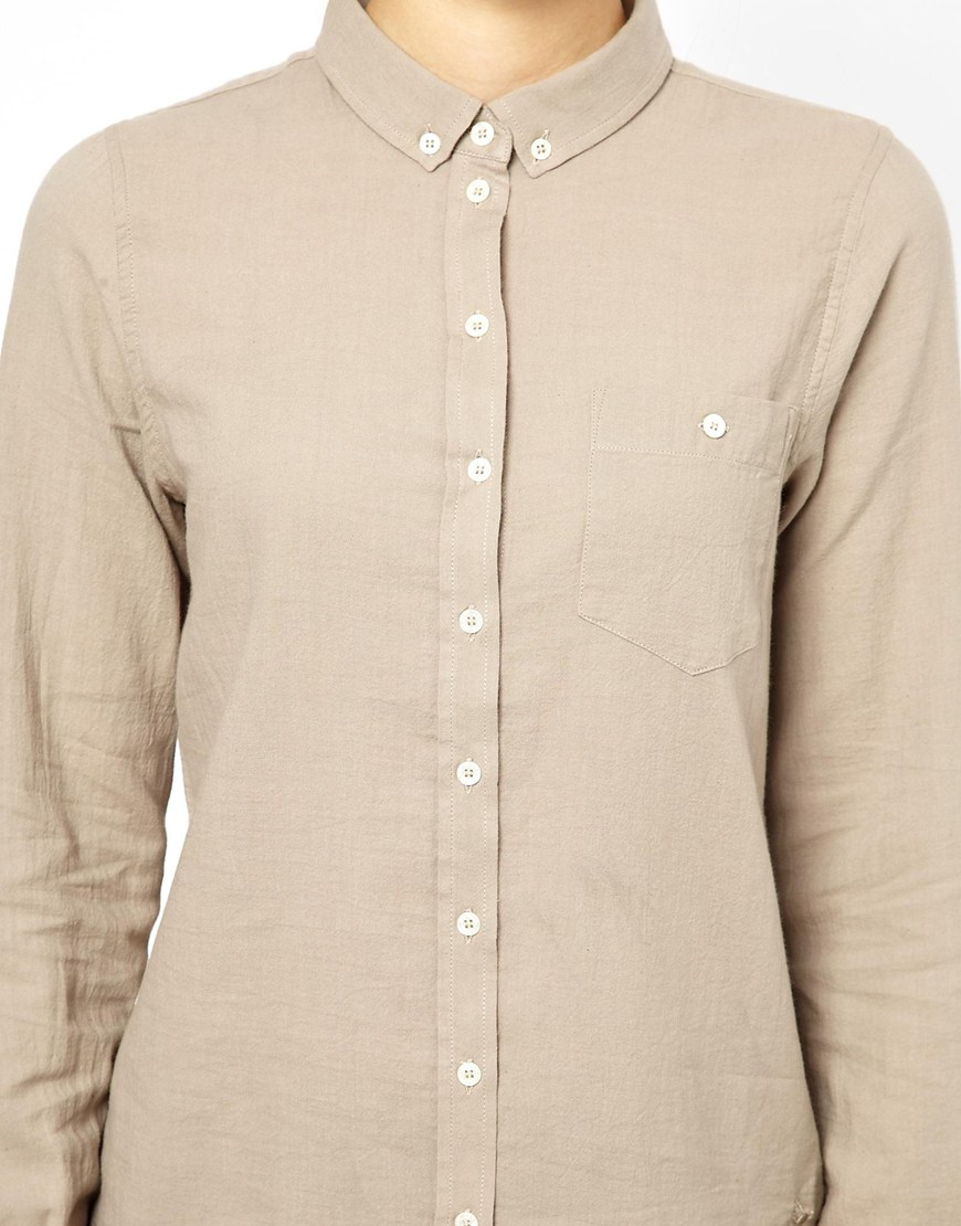 0e8145af M.i.h Jeans The Shrunken Button Down Shirt in Gray - Lyst