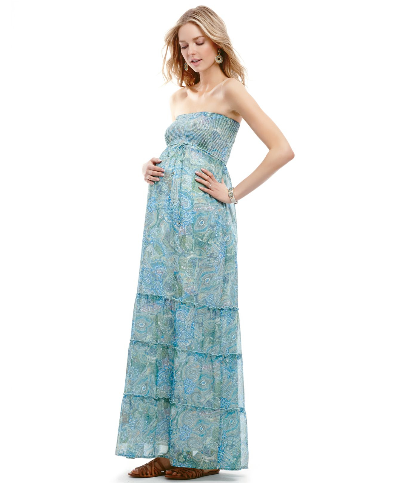 Jessica simpson Maternity Strapless Paisleyprint Smocked Maxi ...