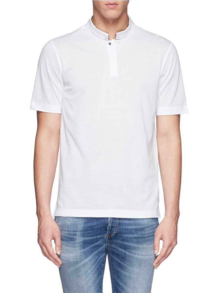 lyst armani contrast mandarin collar polo shirt in white. Black Bedroom Furniture Sets. Home Design Ideas