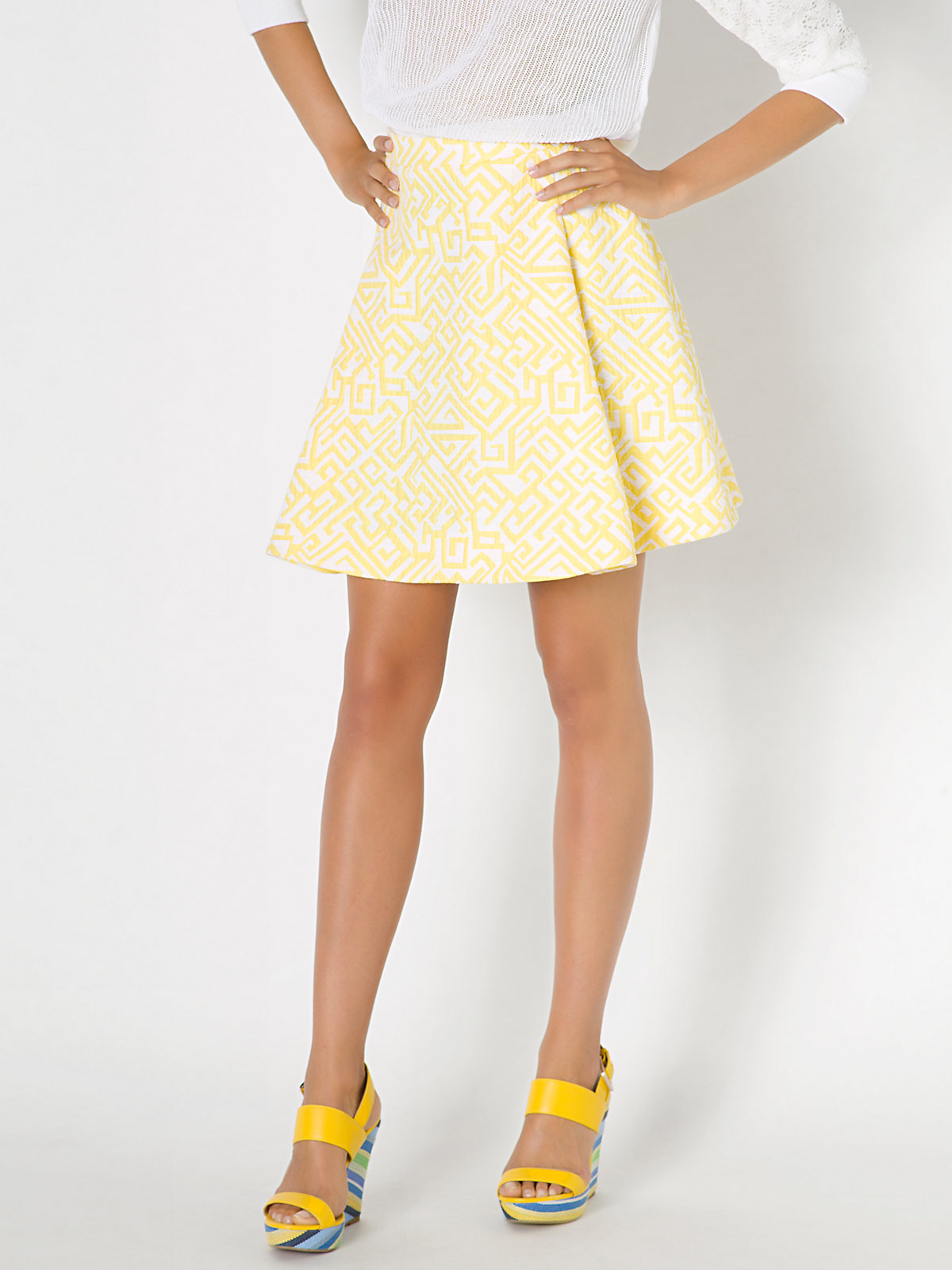 patrizia pepe high waisted corolla skirt in cotton mix