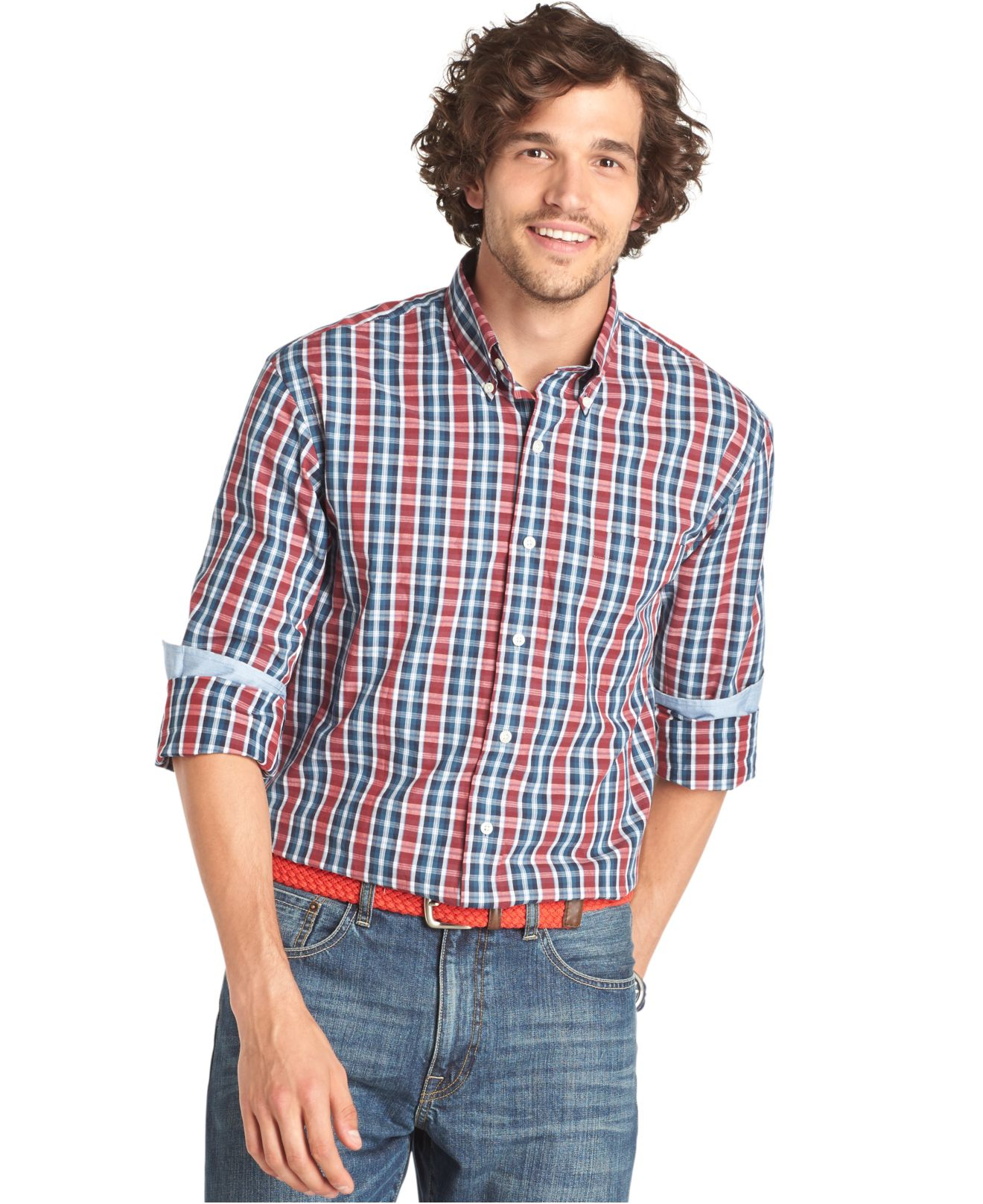 lyst izod big and tall long sleeve plaid shirt for men