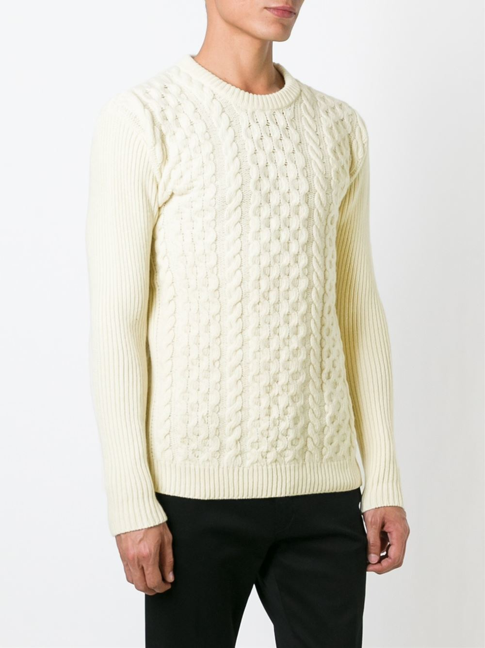 Sweater Knit : Ami cable knit sweater in white for men lyst