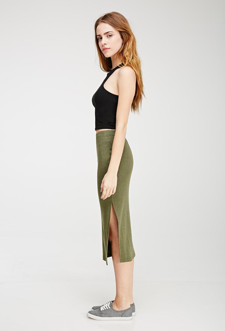 Forever 21 Slit Midi Skirt in Green | Lyst