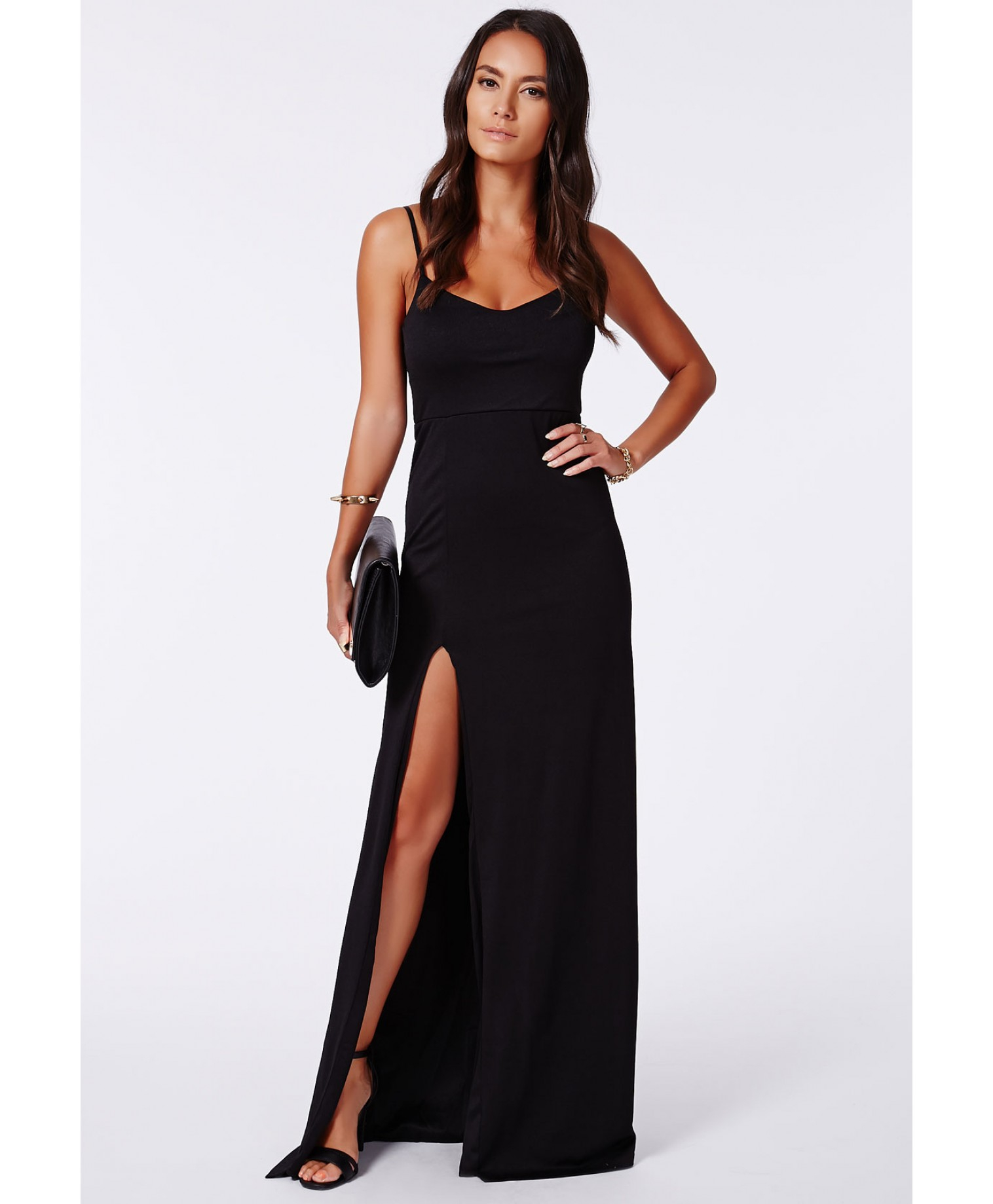 split front maxi black dress