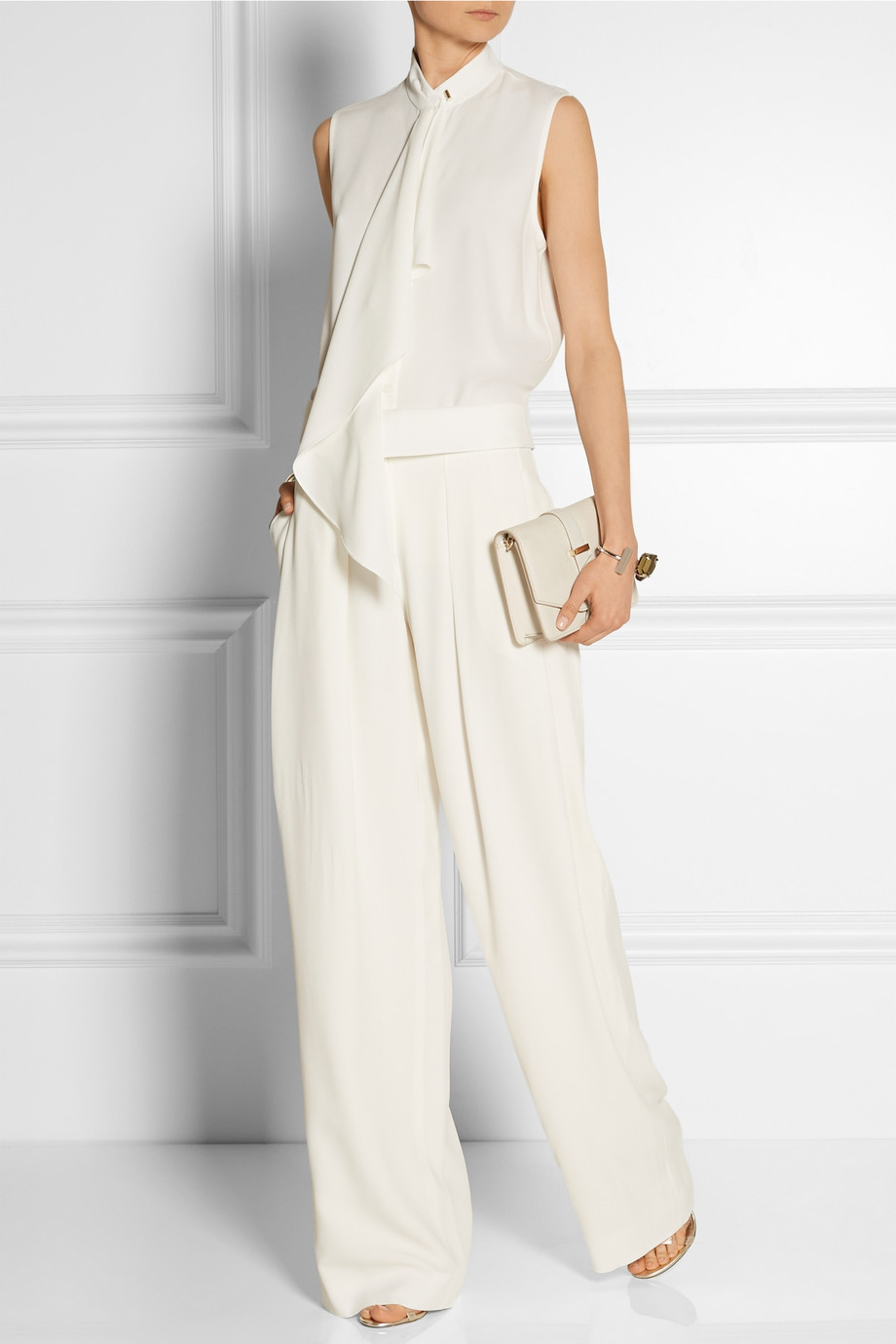 Jason wu Pleated Crepe Wide-leg Pants in White | Lyst