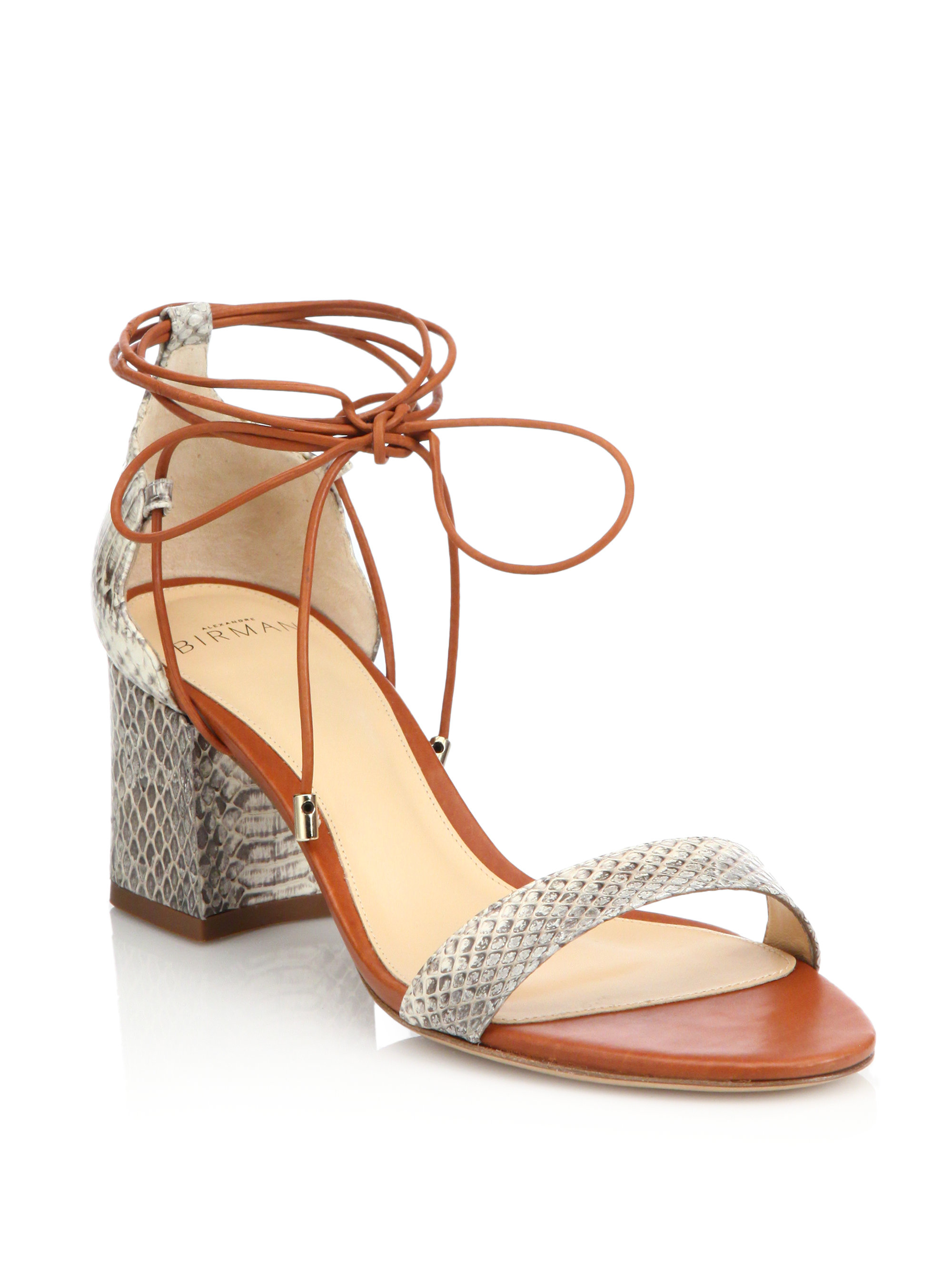 4ff206251c1 Lyst - Alexandre Birman Python Lace-up Mid-heel Sandals