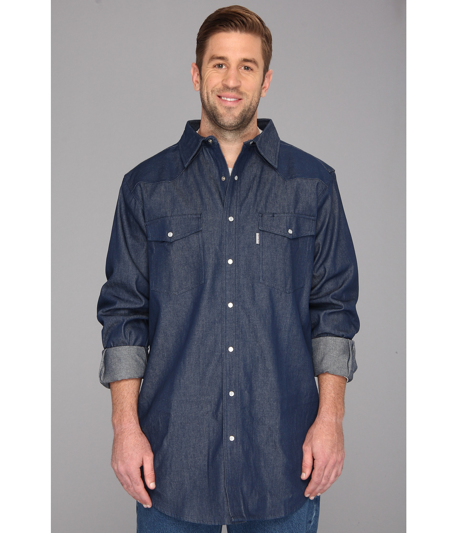 Carhartt ironwood denim work shirt tall in blue for men for Tall mens work shirts