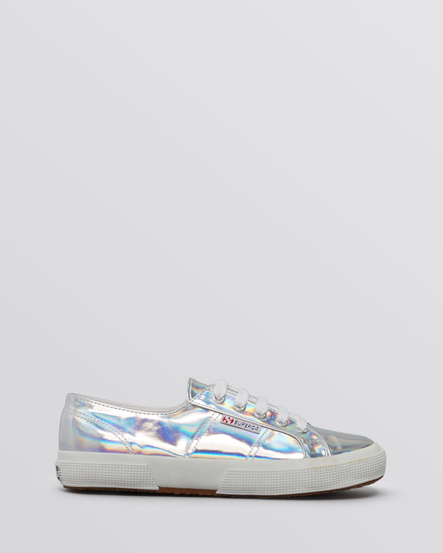 Up Metallic Sneakers Lyst In Superga Flat Mirror Lace srdhxtCQ