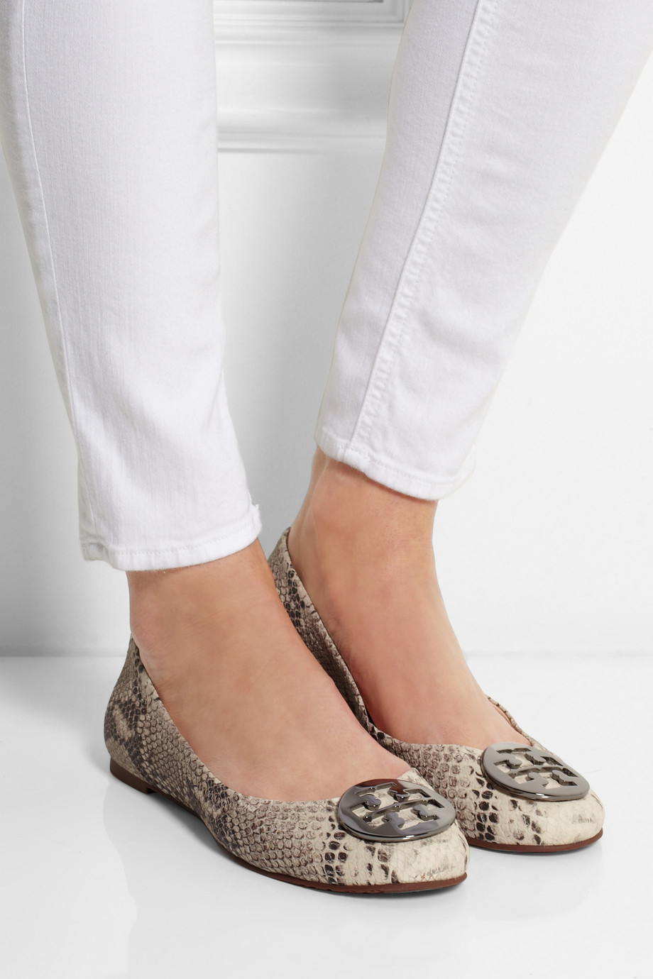43018595b0a2 ... get lyst tory burch reva snake effect leather ballet flats in natural  7900b 6987d