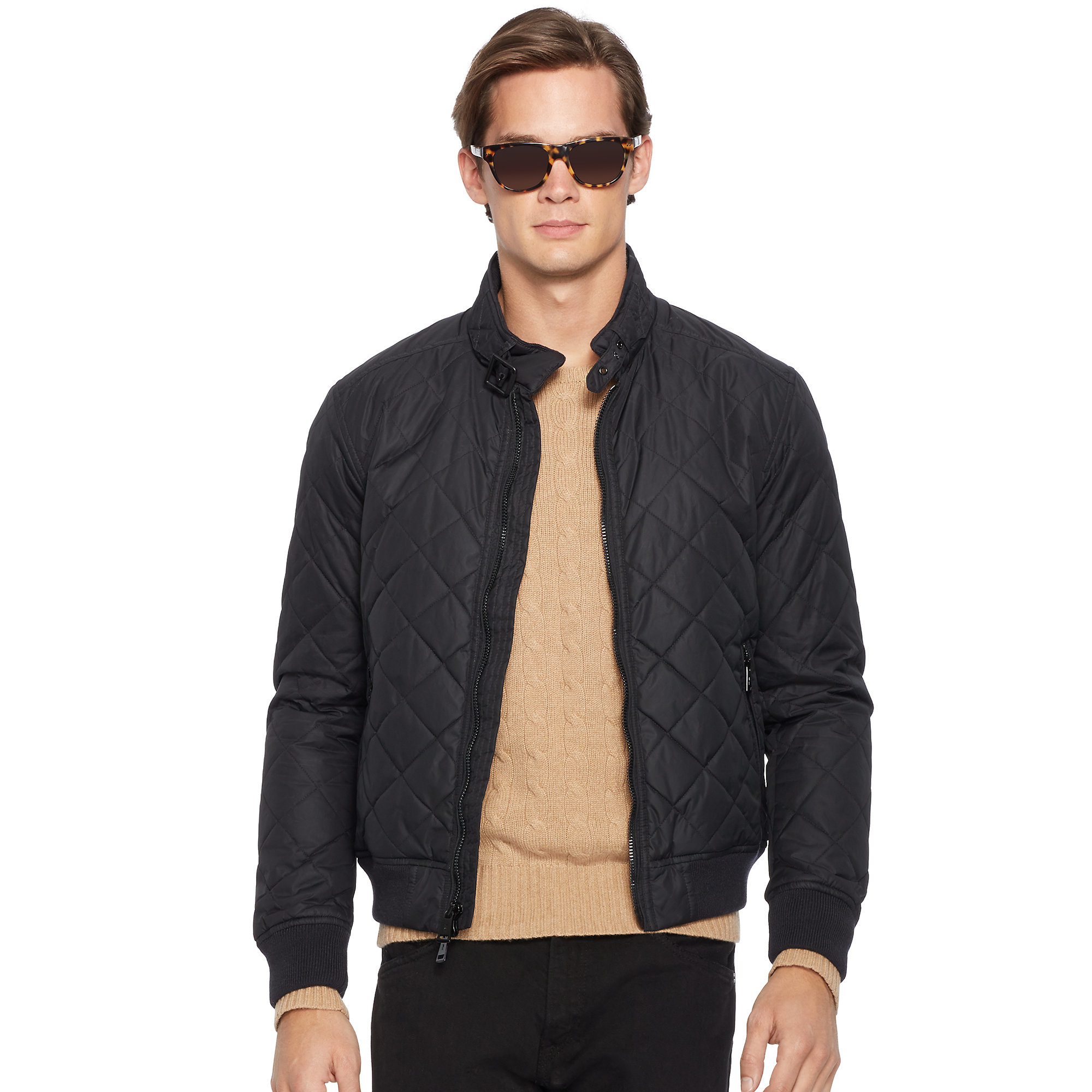 Lyst Polo Ralph Lauren Quilted Bomber Jacket In Black For Men