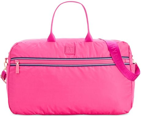 tommy hilfiger training plus solid nylon extra large weekender in pink medium pink lyst. Black Bedroom Furniture Sets. Home Design Ideas