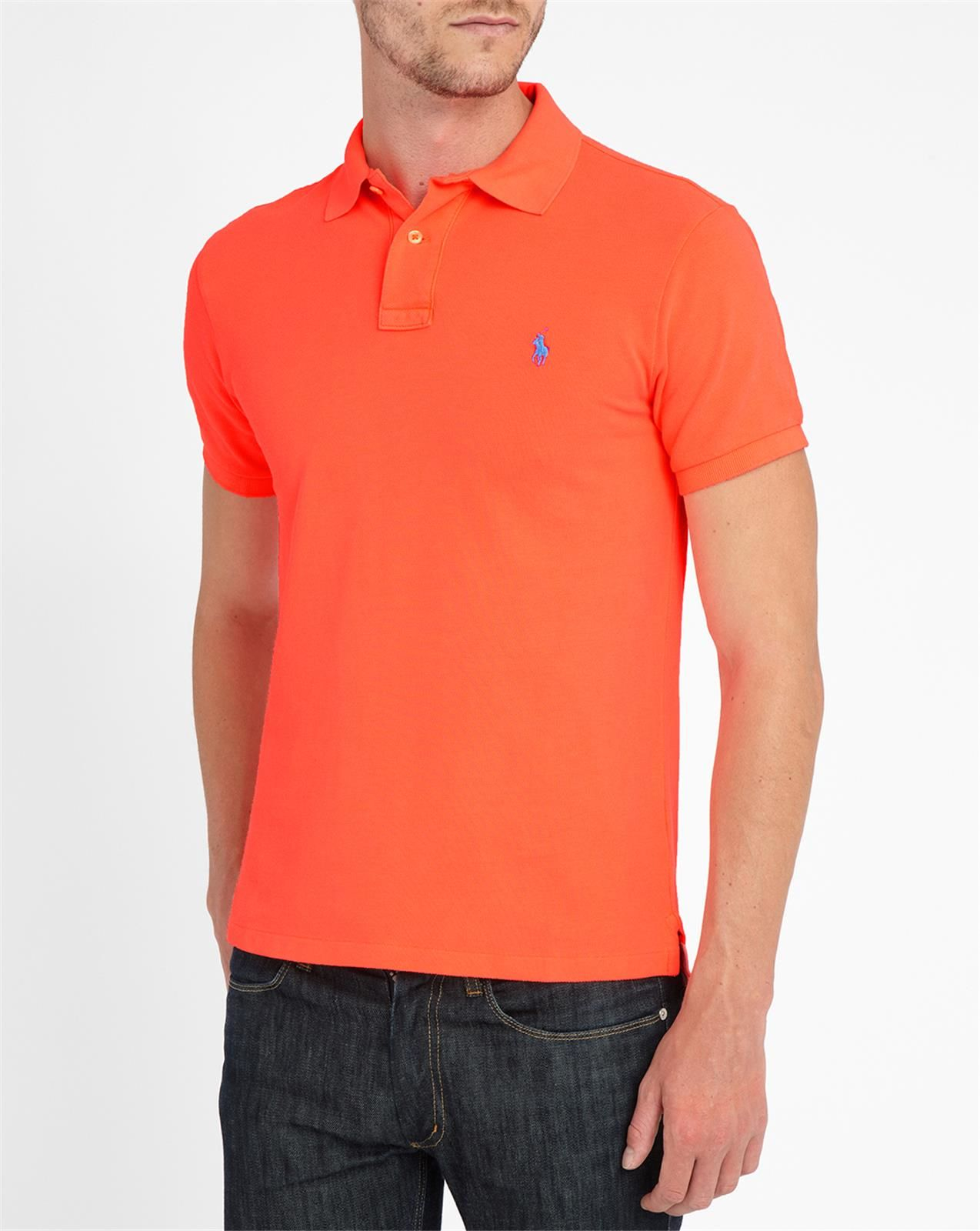 Polo ralph lauren neon coral slim fit polo shirt in orange for Mens slim polo shirts