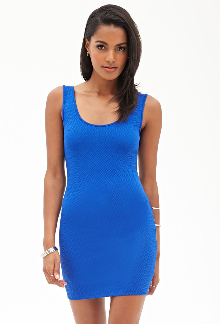 Forever 21 Crosshatch Bodycon Dress in Blue | Lyst