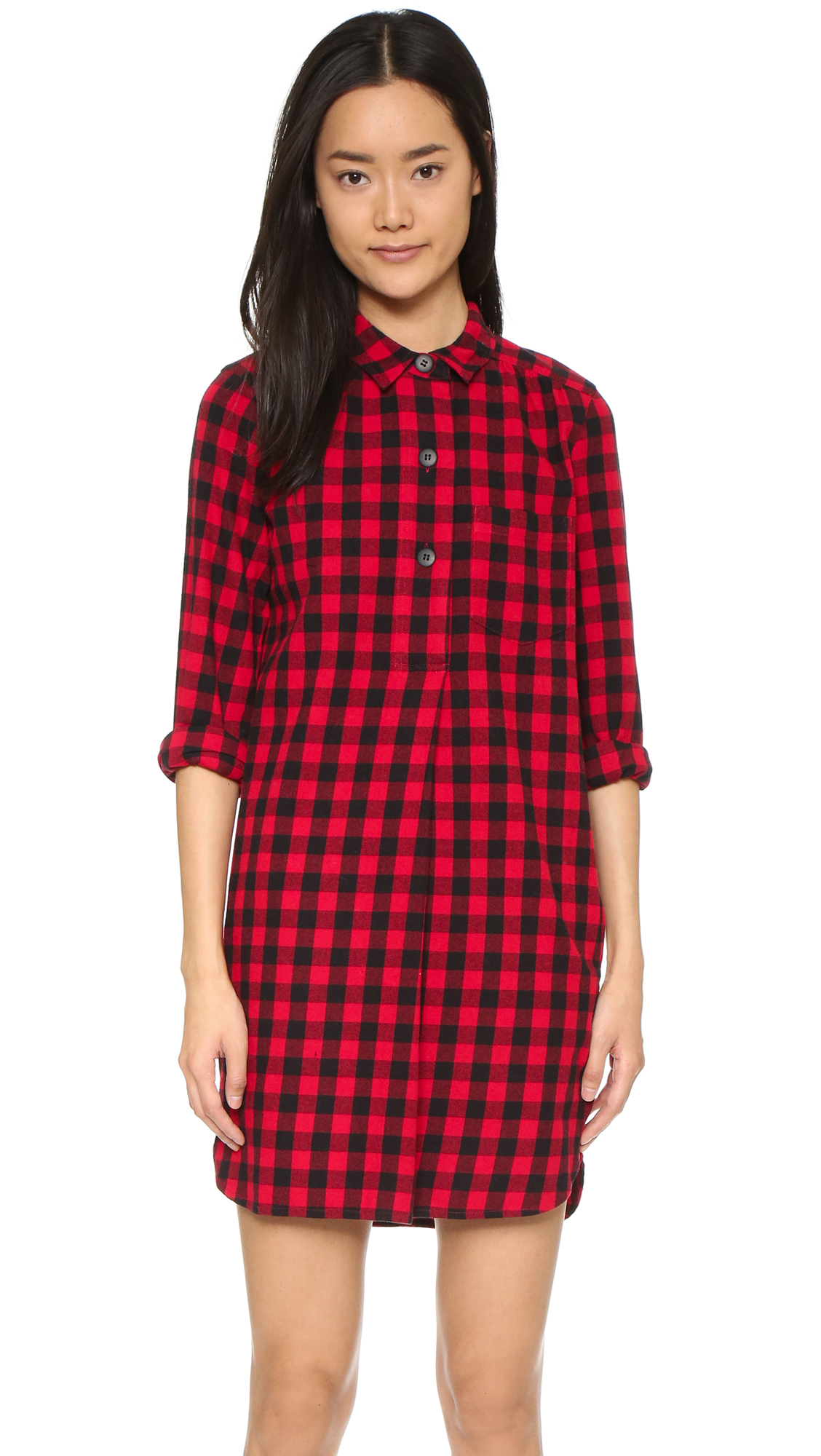 Madewell Jane Plaid Flannel Shirtdress in Red - Lyst 139584b5a