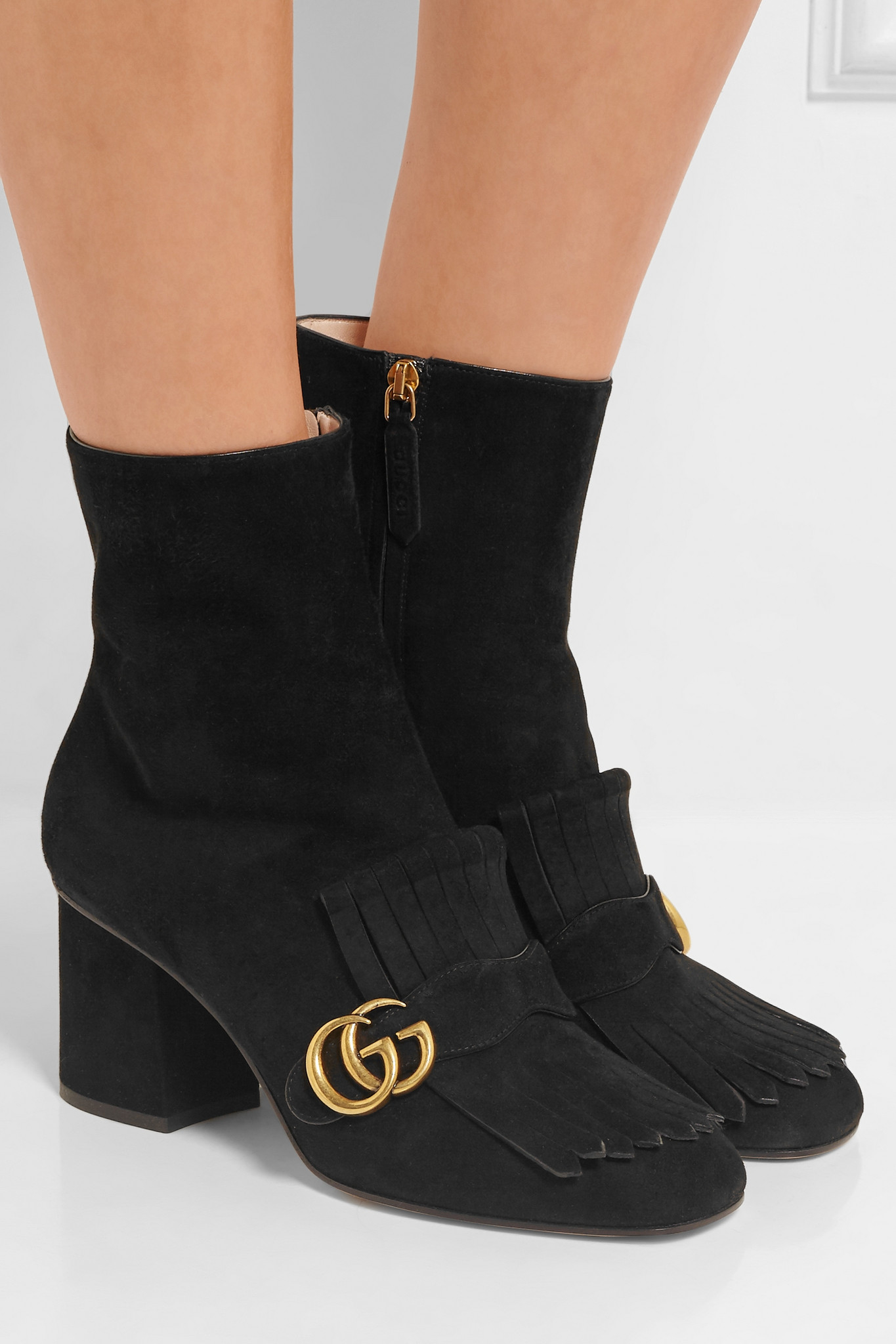 77fe4b59c33 Lyst - Gucci Fringed Suede Ankle Boots in Black