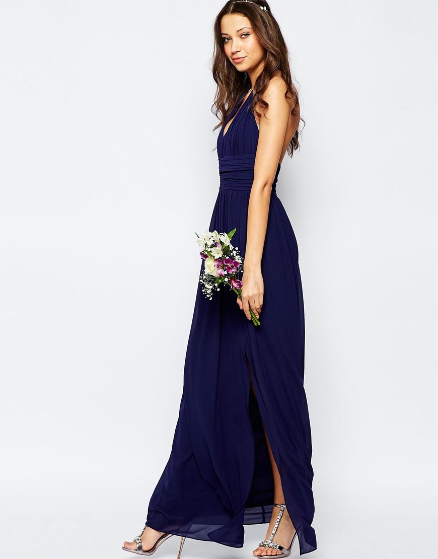 Lyst tfnc london tfnc wedding tall halter neck chiffon for Tall dresses for weddings