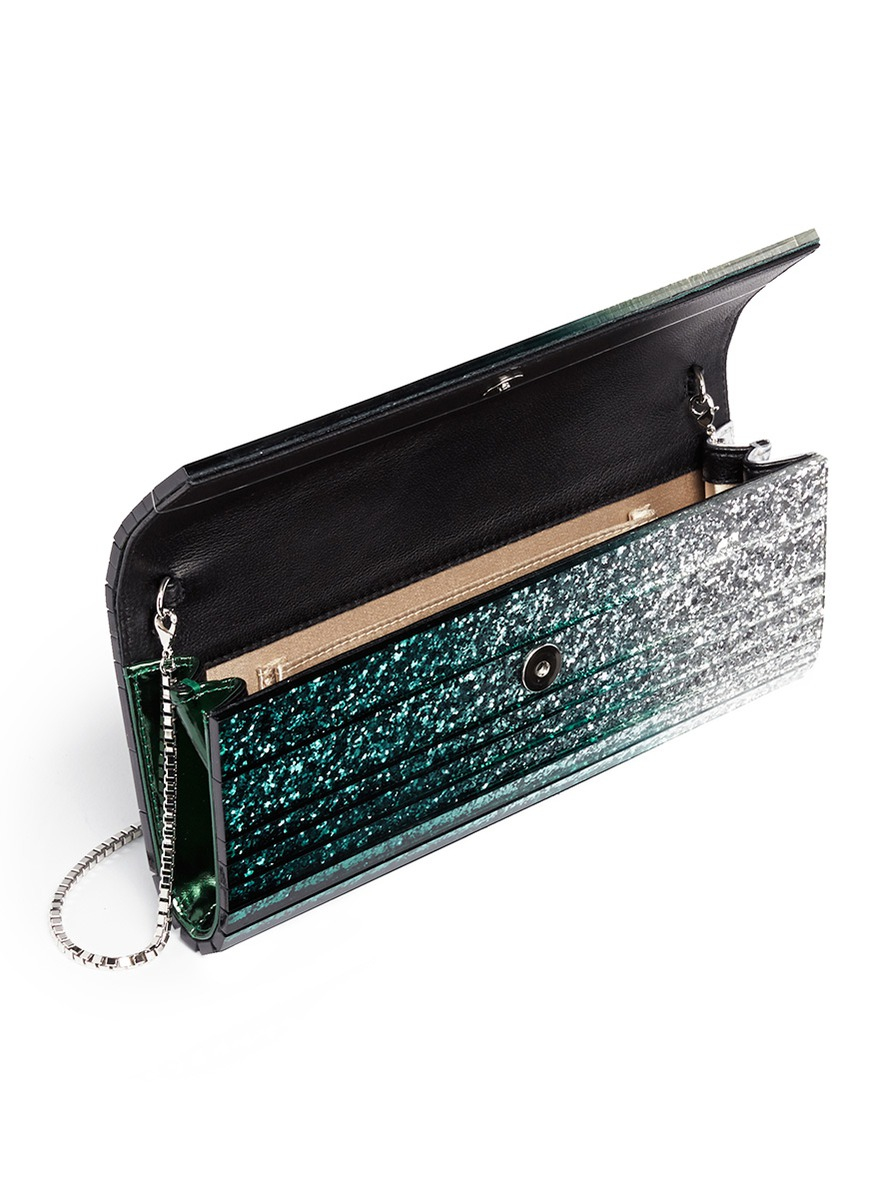 lyst jimmy choo 39 sweetie 39 d grad glitter acrylic clutch in green. Black Bedroom Furniture Sets. Home Design Ideas