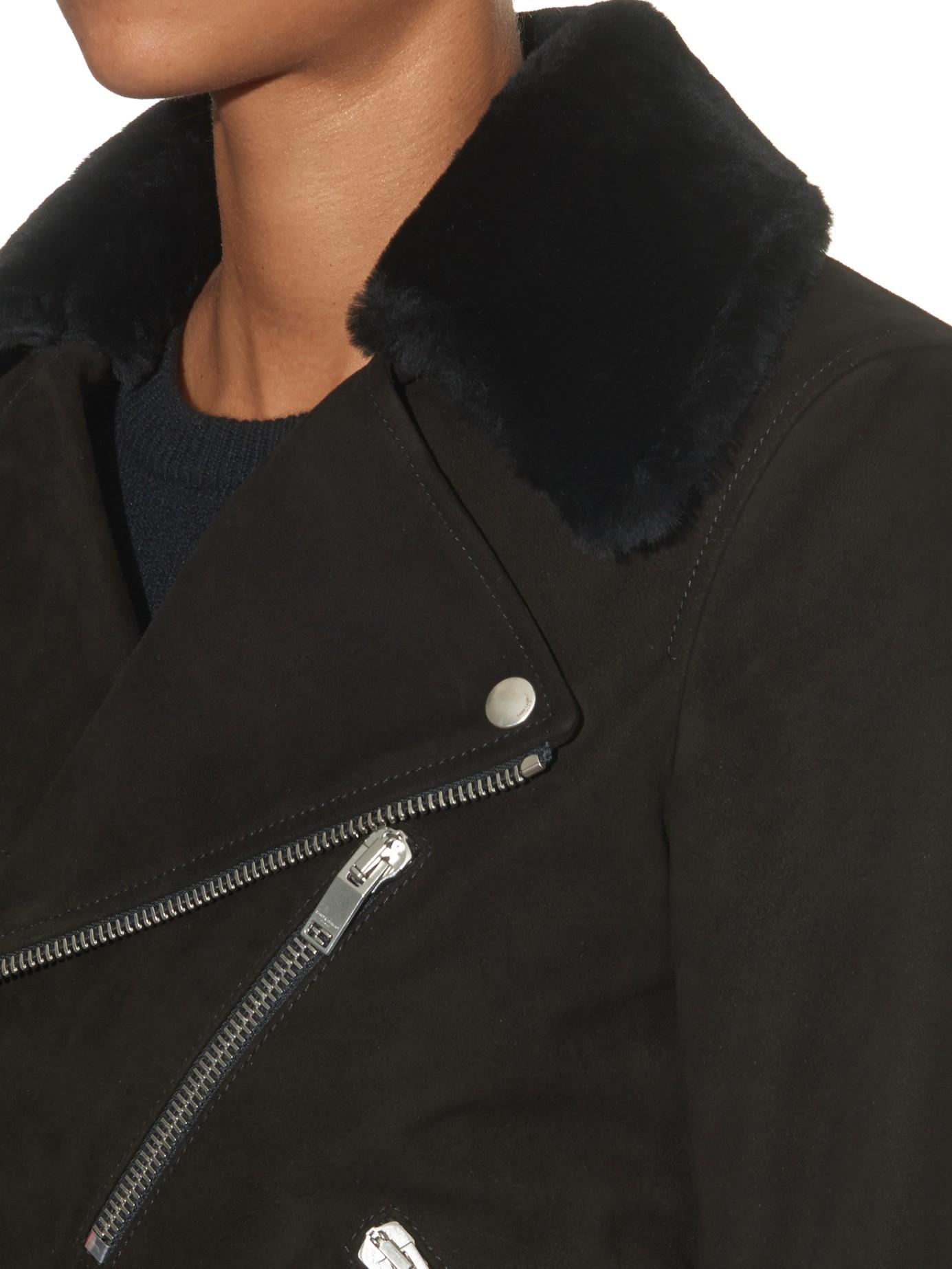 30e23688d77 Saint Laurent Shearling-Collar Suede Biker Jacket in Black - Lyst