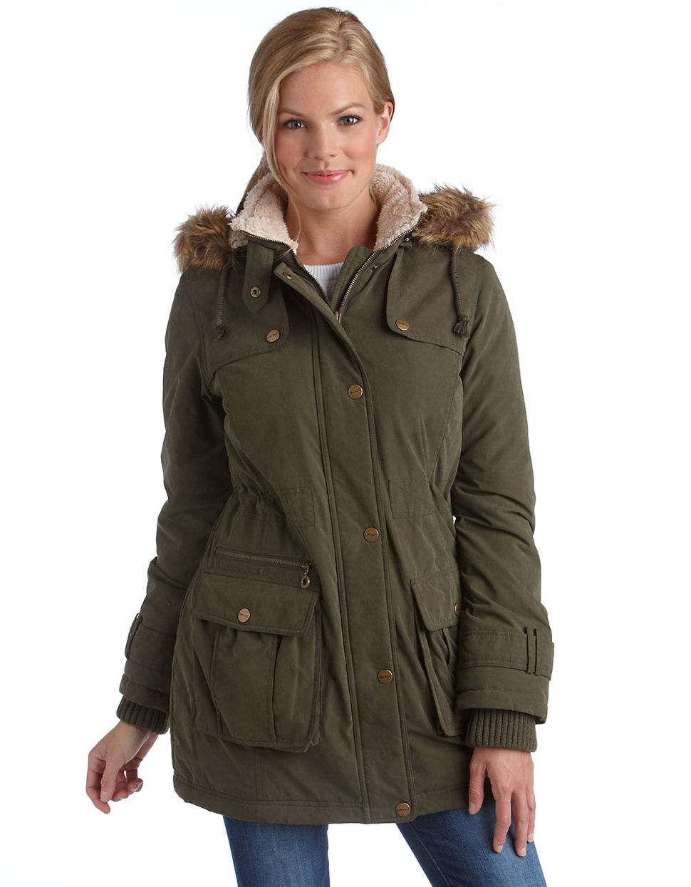 Lyst - Dkny Faux Fur Hooded Anorak Jacket in Green