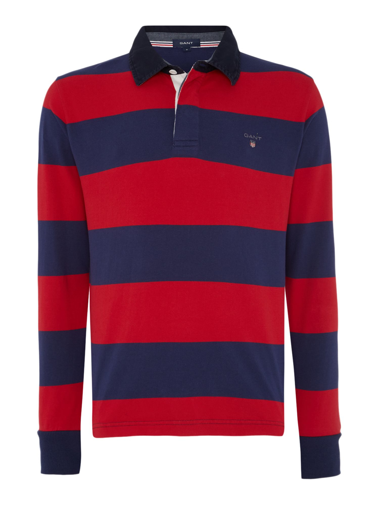 Gant striped long sleeve rugby shirt in blue for men lyst for Long sleeve striped rugby shirt