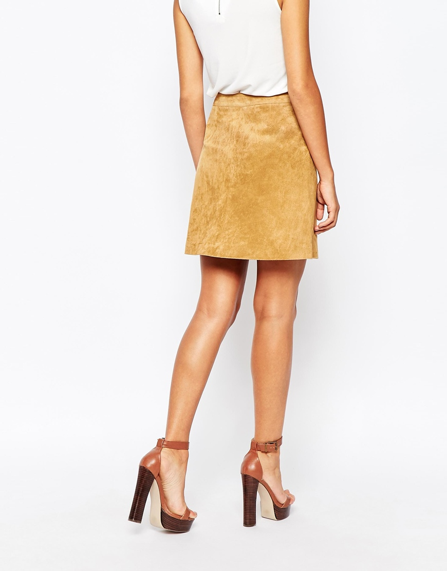 Warehouse Suede Button Through A Line Skirt in Brown | Lyst