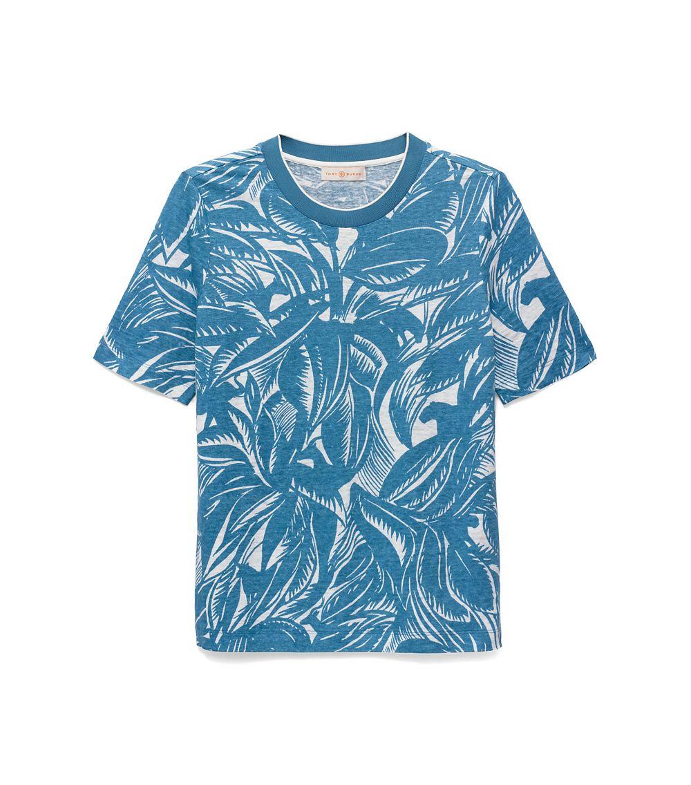 Lyst Tory Burch Linen Jersey Relaxed T Shirt In Blue