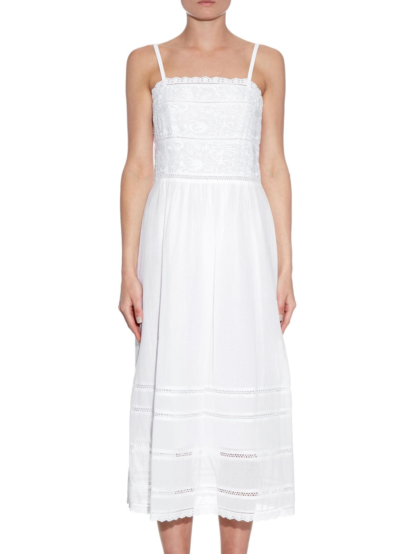 Lyst rebecca taylor oahu embroidered cotton dress in white