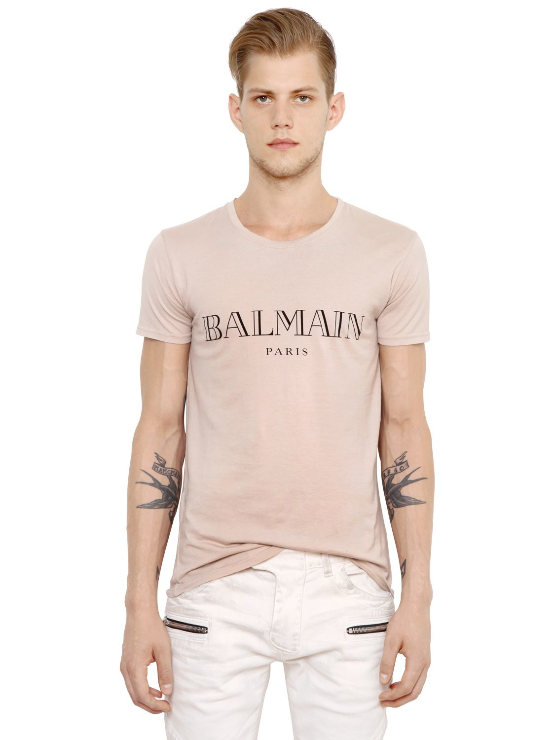 balmain logo printed cotton jersey t shirt in natural for men lyst. Black Bedroom Furniture Sets. Home Design Ideas
