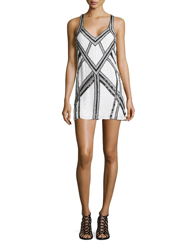 Parker white sequin dress