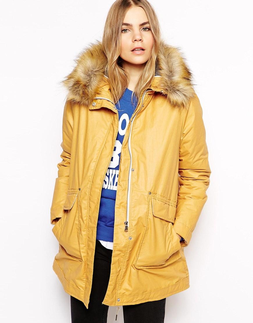 Parka london Tilda Coated Wax Parka With Detachable Faux Fur Trim ...