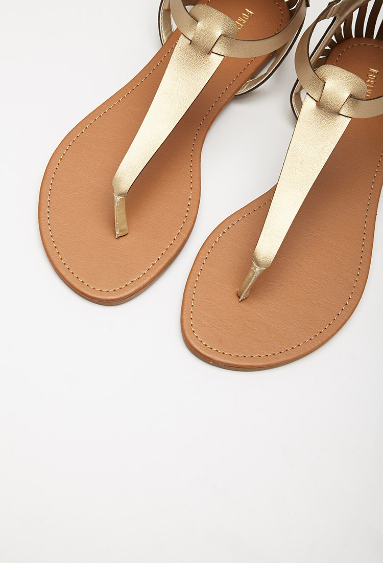 d920ac7333a Lyst - Forever 21 Cutout Faux Leather Sandals in Metallic