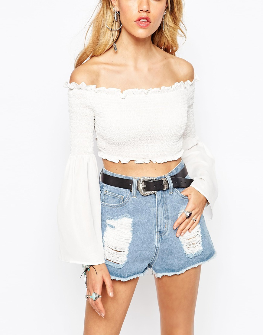 9176fed1ca0acf Lyst - Missguided Chiffon Off The Shoulder Gypsy Top in White