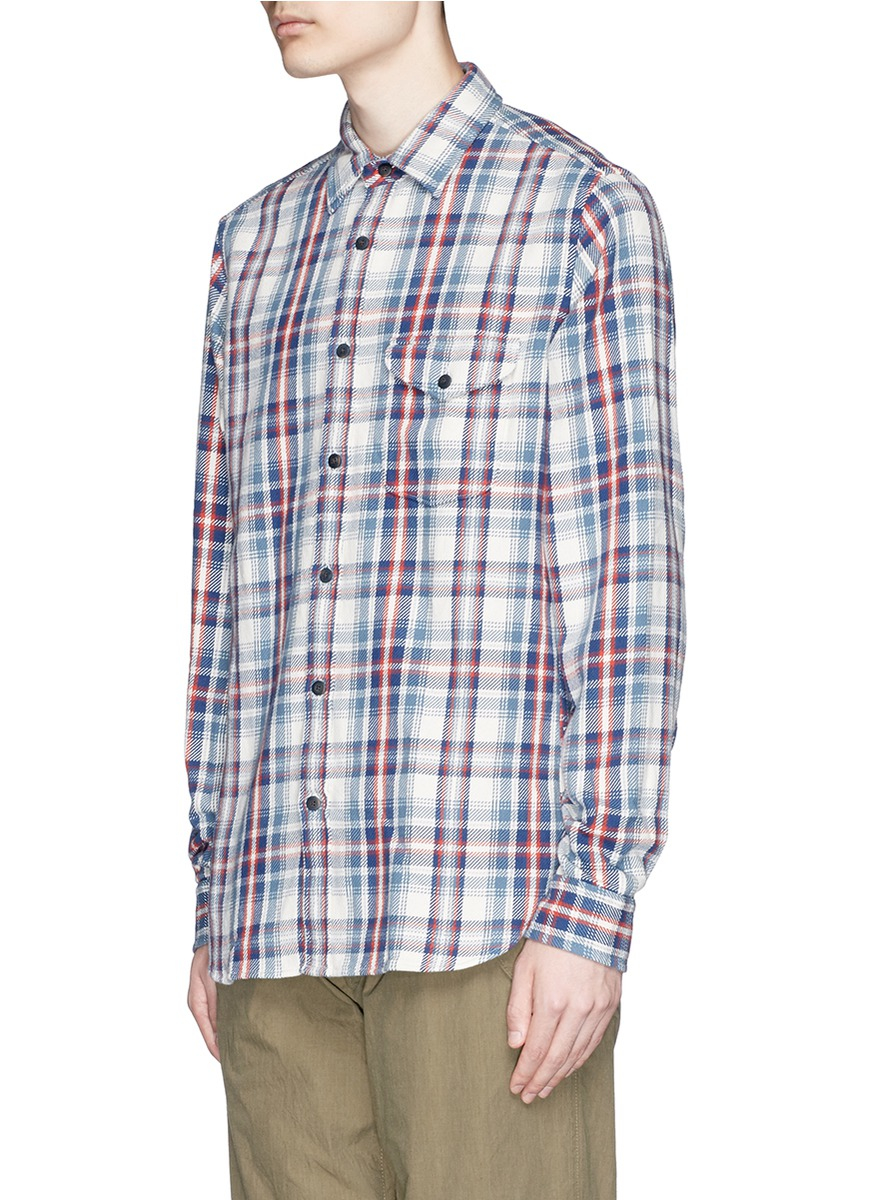 Alex mill 39 brushed twill 39 plaid shirt for men lyst for Brushed cotton twill shirt