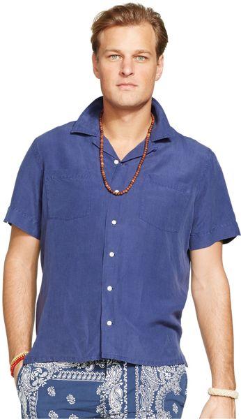 Polo Ralph Lauren Blue Big And Tall Linen Silk Camp