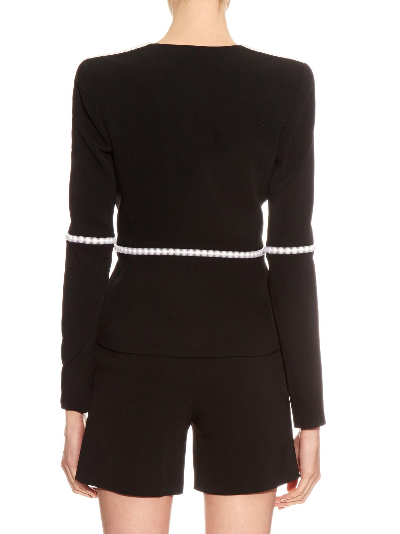Mugler Pearl Embellished V Neck Jacket In Black Lyst