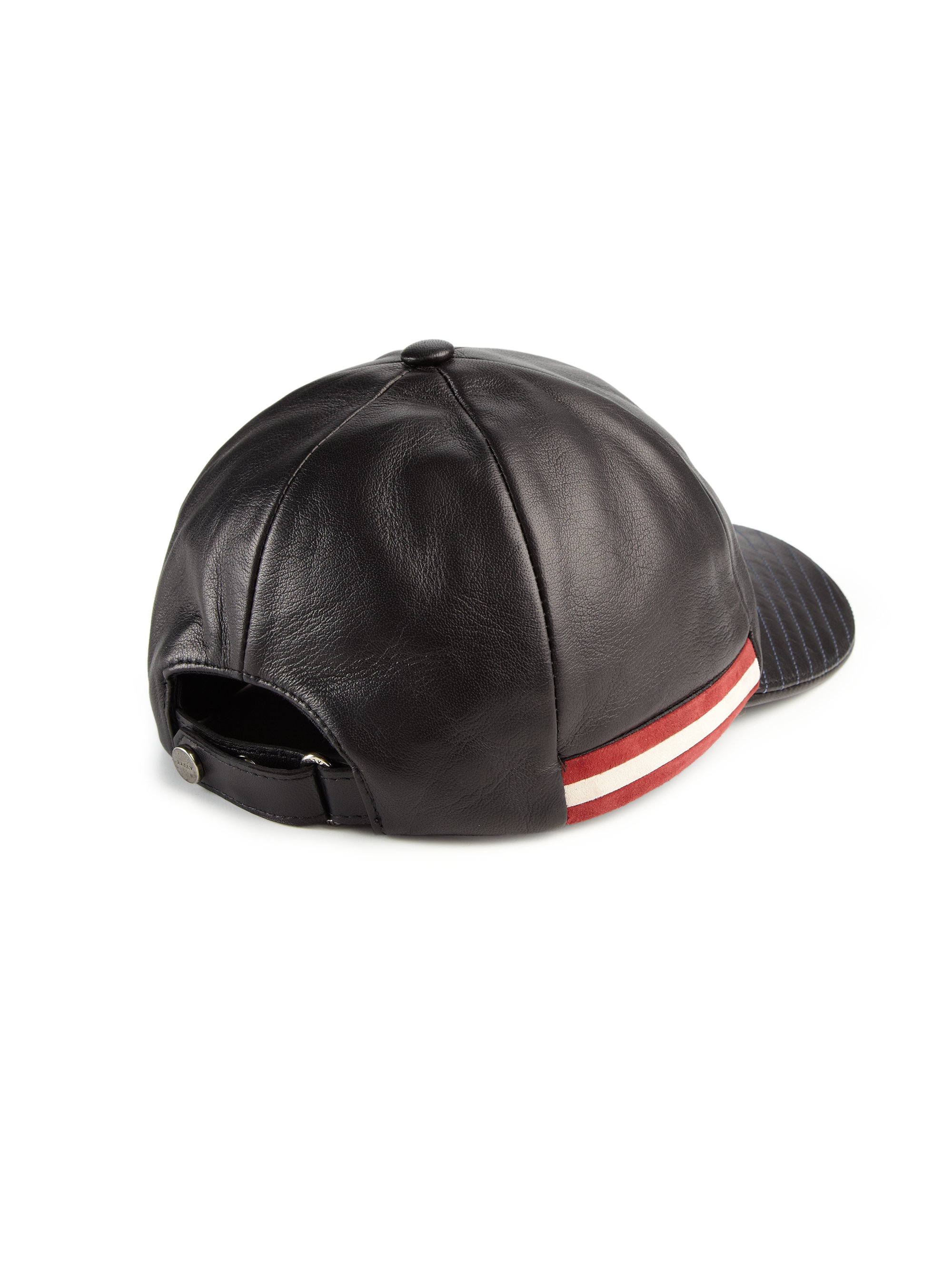 Lyst Bally Leather Baseball Cap In Black For Men