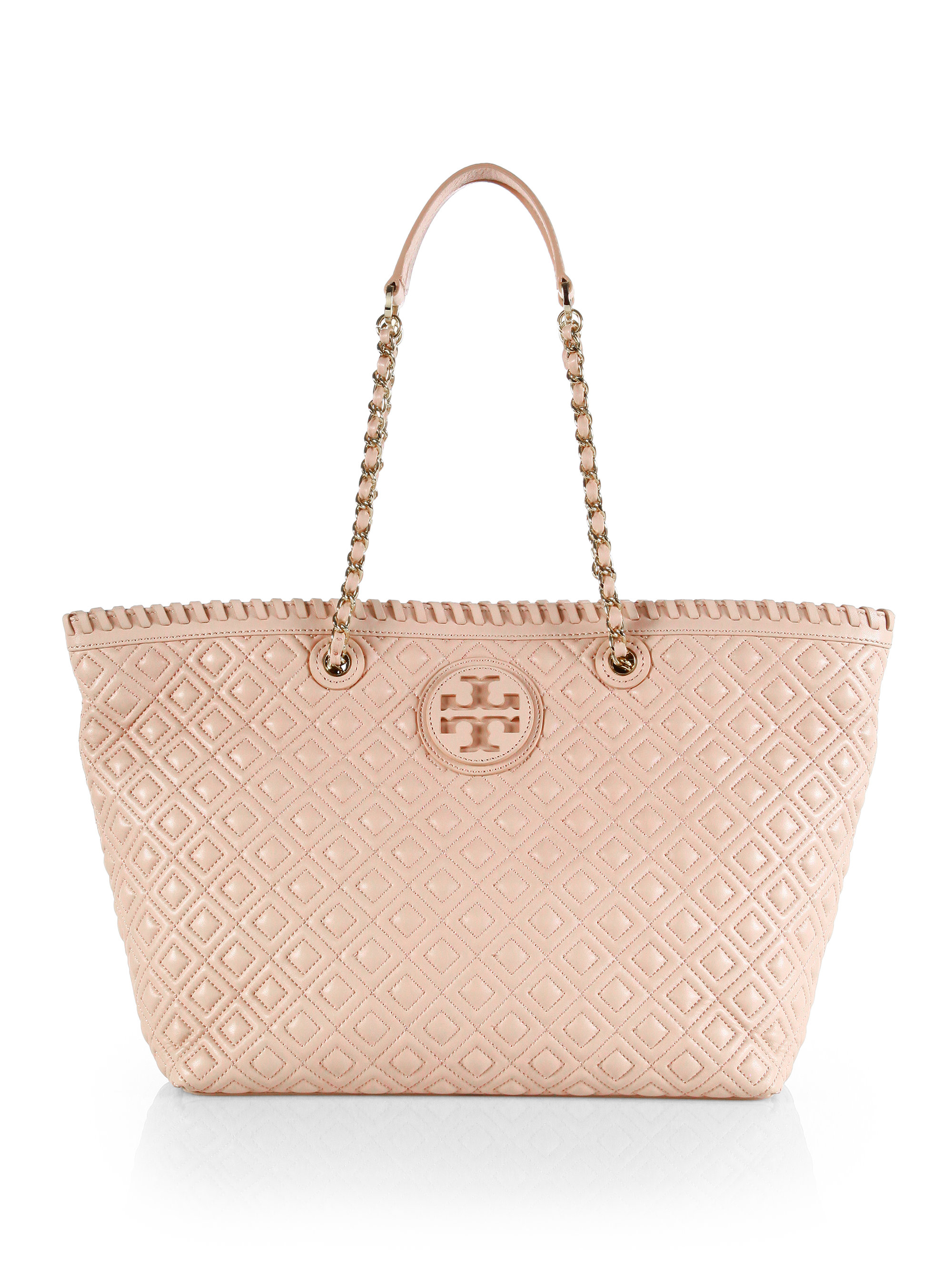Tory Burch Marion Quilted Tote In Black Lyst