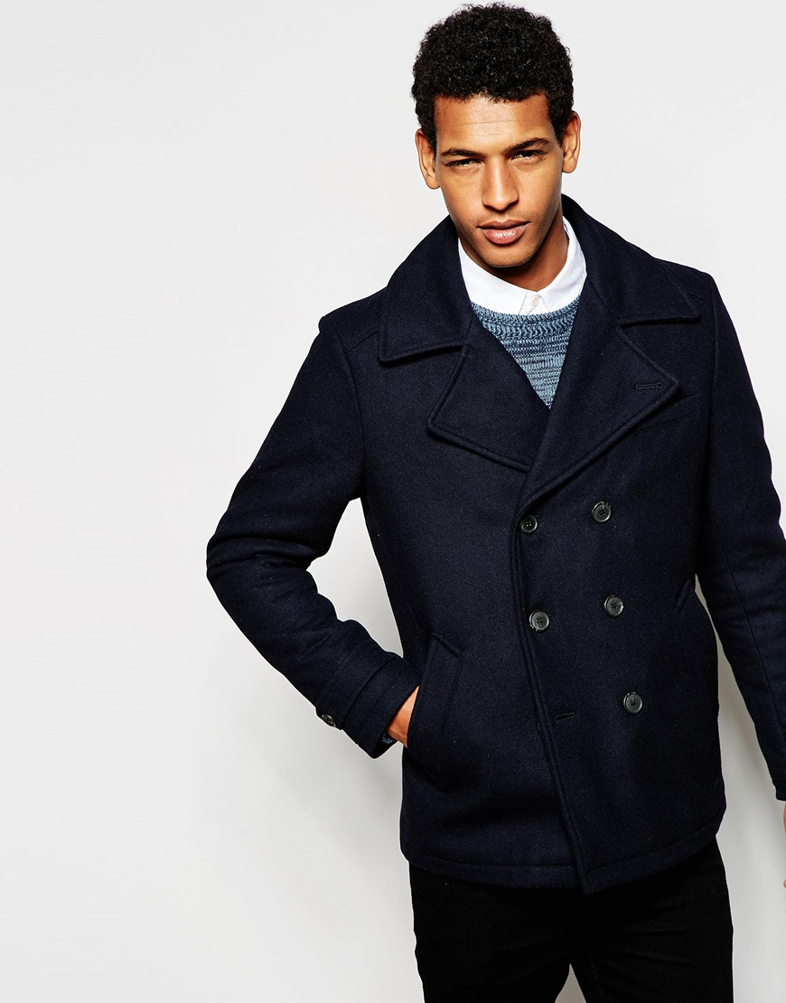 Selected Elected Homme Wool Mix Peacoat in Blue for Men   Lyst