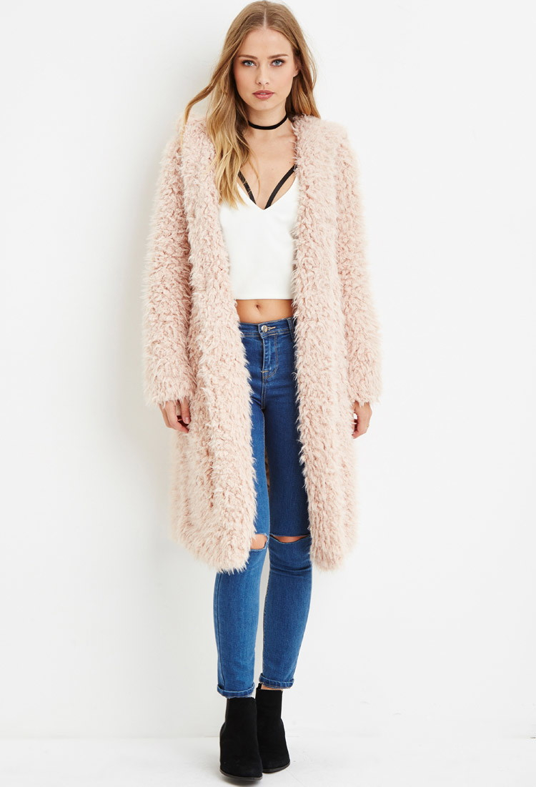 Lyst Forever 21 Hooded Faux Fur Coat In Pink